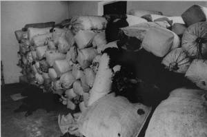 Sacks of human hair from Auschwitz victims