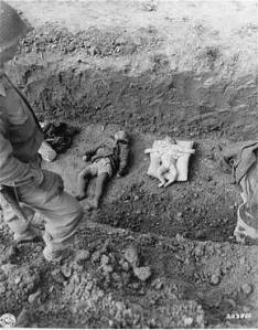 A mass grave of with child corpses.